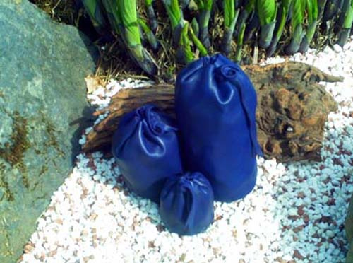 blue leather pouch