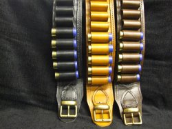 16 Bore (Gauge) Leather Cartridge Belt Open Seated