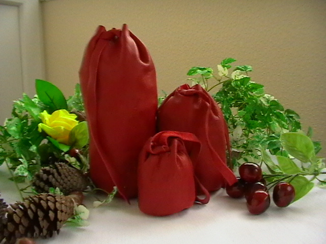 red leather pouches
